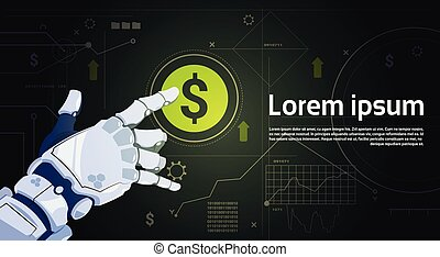 Robot Hand Touch Digital Dollar Sign Button Money Protection Concept Banner With Copy Space