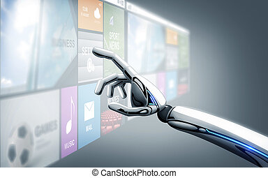 robot hand touching virtual screen with apps