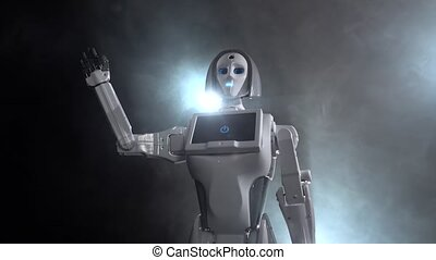 Robot hand waving goodbye . Black smoke background - Robot...