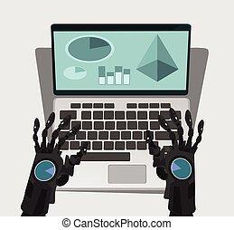 Robot hand work at computer. Vector cartoon illustration