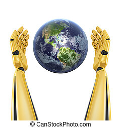 Robot hands around planet earth isolated on white background