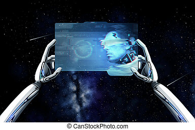 robot hands with cyborg on tablet pc over space - science ...