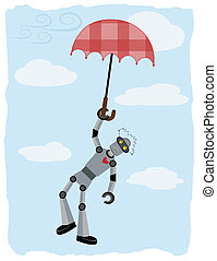 Robot hanging from floating umbrella - Floating in the sky...