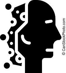 robot head artificial intelligence glyph icon vector illustration