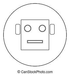 Robot head icon black color in circle