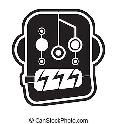 Robot head icon on a white isolated background. Vector image