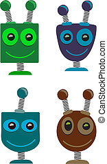 Robot Heads Cute - Four 4 vector illustrations springy of...