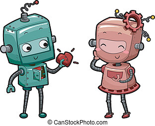 Illustration of a Male Robot Handing His Heart to a Female Robot
