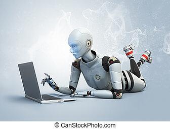 robot, het liggen op de verdieping, en, gebruikende laptop