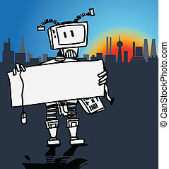 Robot holding a blank board