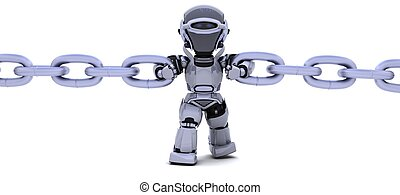 Robot holding a chain