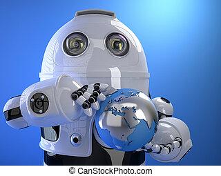 Robot holding blue shining earth globe. Technology concept....