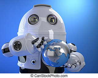 Robot holding blue shining earth globe. Technology concept....