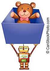Robot holding box with teddy bear inside