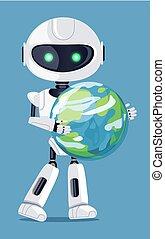 Robot Holding Globe in Hands Vector Illustration
