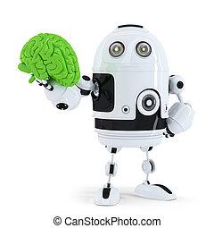 Robot holding green brain. Technology concept