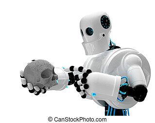 Robot holding human scull. Isolated over white background