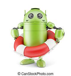 Robot holding life buoy. Isolated on white