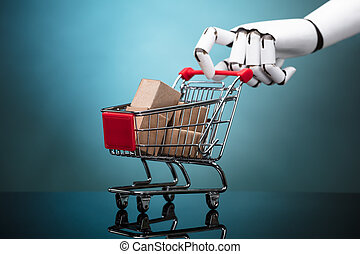 Robot Holding Shopping Cart With Cardboard Boxes