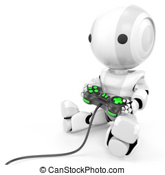 Robot Holding Video Game Controller - robot holding a video...