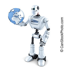 Robot holds earth globe. Technology concept. Isolated. Contains clipping path