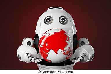 Robot holds red earth globe
