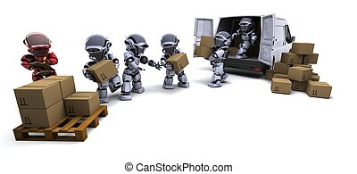 robot, hos, forsendelse, bokse, lastning, en, godsvognen