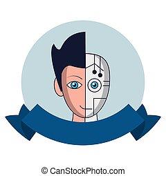Robot human face round emblem