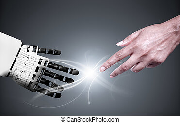 Robot human hand connection - Robot and human touching ...