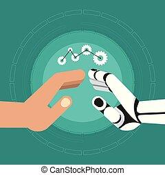 robot human hands teamwork