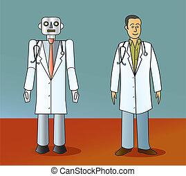 robot, humano, doctor