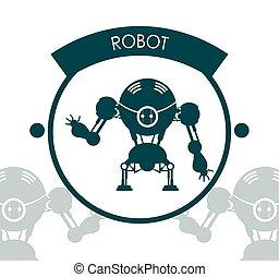 robot, icône, conception