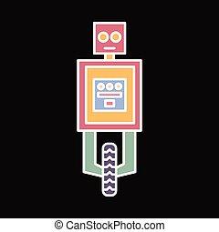 Robot icon, cartoon style