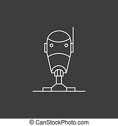 Robot icon in thin outline style
