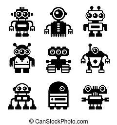 Robot Icon Set on White Background. Vector