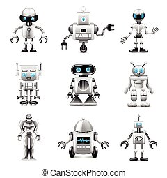 robot, icone, vettore, set