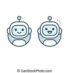 robot, icono, avatar