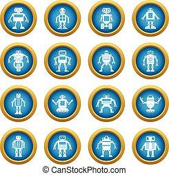 Robot icons blue circle set