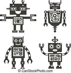 Robot icons. Robots black signs vector