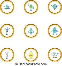 Robot icons set, cartoon style