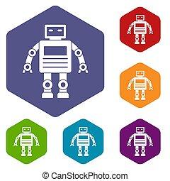 Robot icons set hexagon