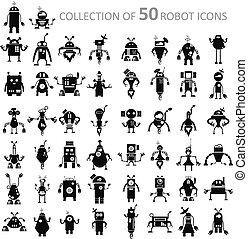 Vector image of black retro robot icons
