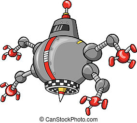 robot, illustration, vektor