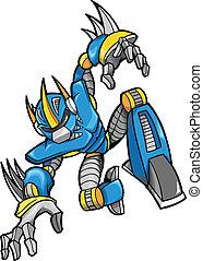 robot, illustrazione, cyborg, vettore