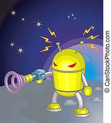 robot, ilustracja, księżyc