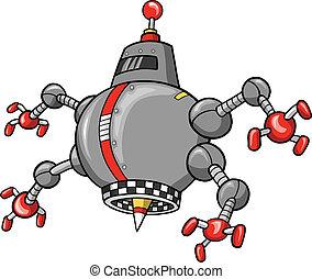 robot, ilustracja, wektor