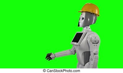 Robot in a builder's helmet waves hi and talks. Green screen. Side view