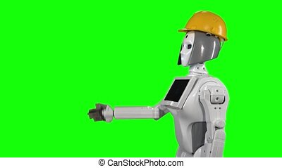 Robot in a helmet is calling to his workers. Green screen. Side view
