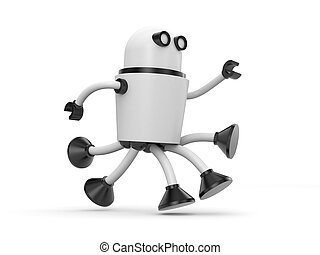 Robot in a hurry somewhere. 3d illustration