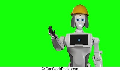 Robot in an helmet invites workers to his office. Green screen. Slow motion